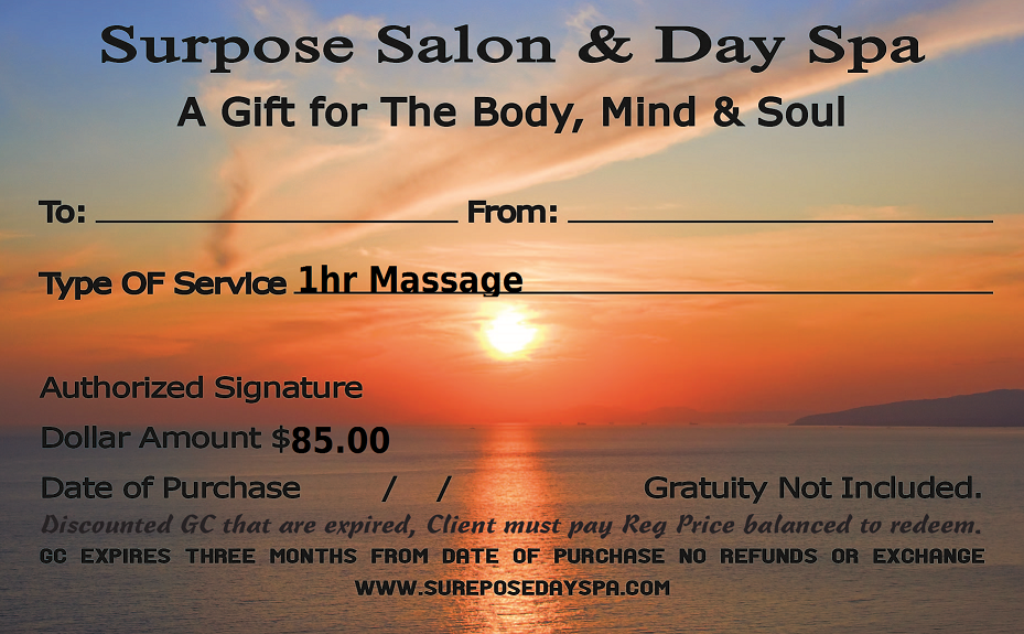 1hr massage card