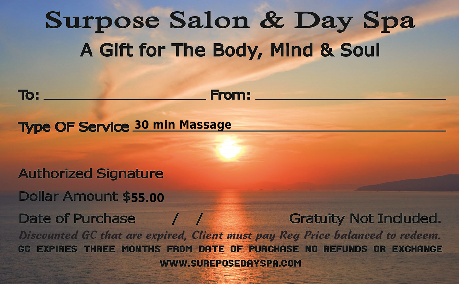 30 min  massage card